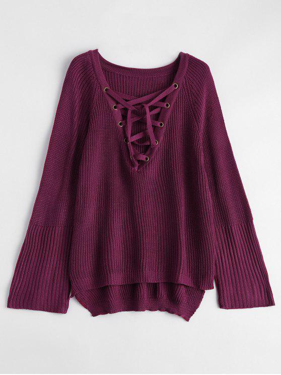 Alto Bajo con cordones de cuello en V suéter - Burdeos S