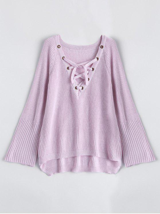 lady High Low Lace-Up V Neck Sweater - PINK S