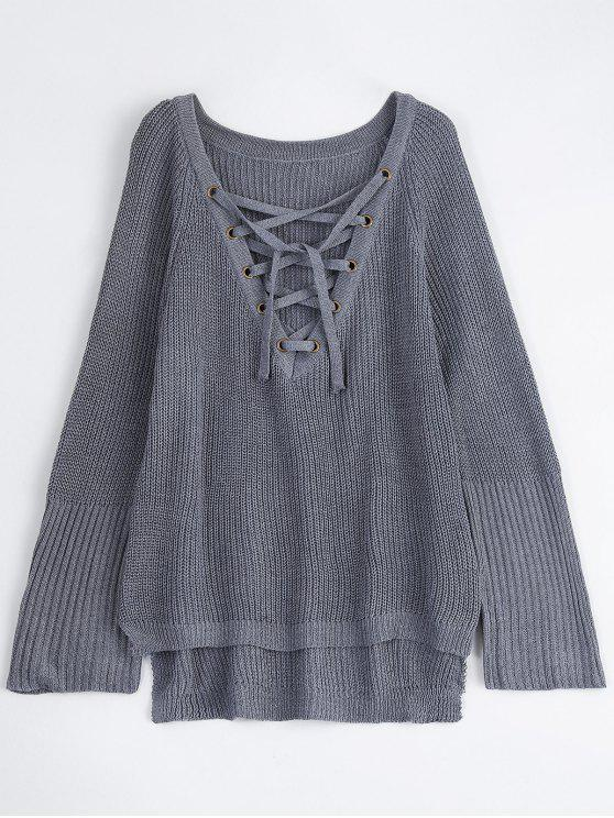 outfits High Low Lace-Up V Neck Sweater - GRAY S