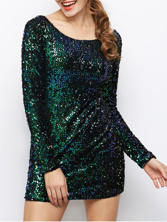Sequin Sparkly Round Neck Bodycon Dress - Vert L