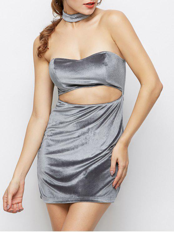women's Velvet Cut Out Choker Bodycon Dress - LIGHT GRAY S