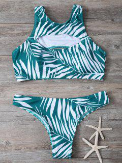Tropical Print Cut Out Bikini Set - Green L
