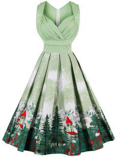 Midi High Waist Sleeveless Print Sweetheart Dress - Grass Green M