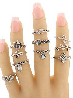 Leaf Tortoise Geometric Jewelry Ring Set - Silver