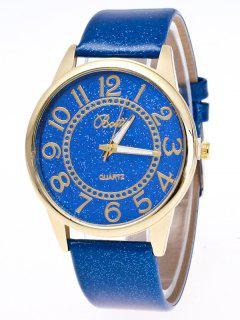 Faux Leather Glitter Number Watch - Blue