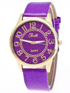 Faux Leather Glitter Number Watch - Purple