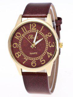 Faux Leather Glitter Number Watch - Brown