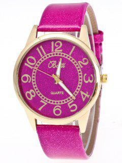 Faux Leather Glitter Number Watch - Tutti Frutti