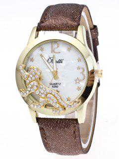 Faux Leather Leopard Quartz Watch - Brown