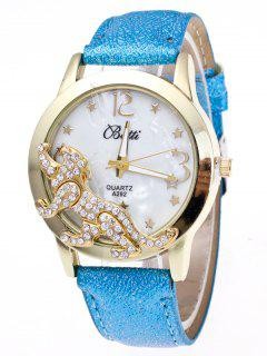 Faux Leather Leopard Quartz Watch - Azure