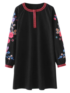 A Line Embroidered Tunic Dress - Black M