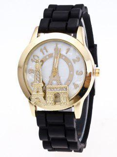 Reloj Cuarzo Silicona Torre Eiffel - Negro