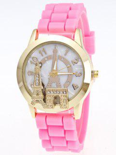 Eiffel Tower Silicone Quartz Watch - Pink