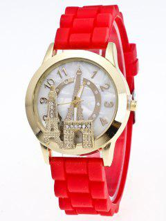 Eiffel Tower Silicone Quartz Watch - Red