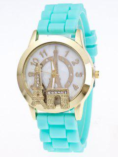 Eiffel Tower Silicone Quartz Watch - Lake Blue