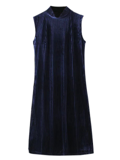Side Slit High Collar Pleated Velvet Dress - Purplish Blue S
