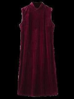 Side Slit High Collar Pleated Velvet Dress - Burgundy S