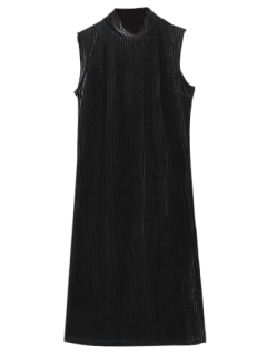 Side Slit High Collar Pleated Velvet Dress - Black S