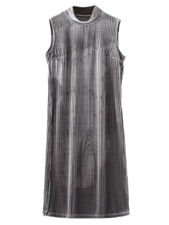 Side Slit High Collar Pleated Velvet Dress - Gray M