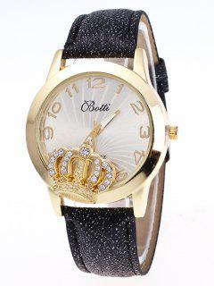 Reloj Numero Cuero Imitación Diamante Artificial  - Negro