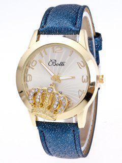 Reloj Numero Cuero Imitación Diamante Artificial  - Azul