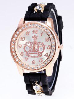 Reloj Numero Diamante Artificial Silicona Corona  - Negro