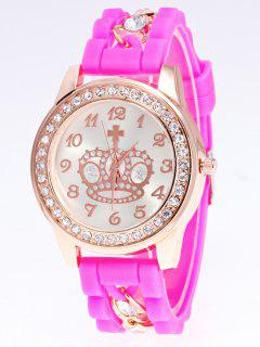 Silicone Rhinestone Crown Number Watch - Pink