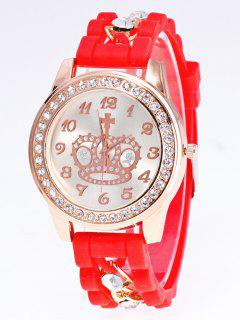 Silicone Rhinestone Crown Number Watch - Red