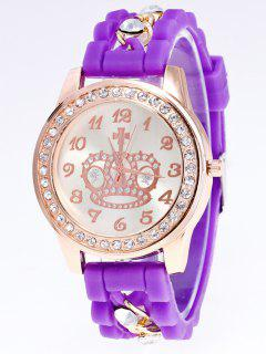 Silicone Rhinestone Crown Number Watch - Purple
