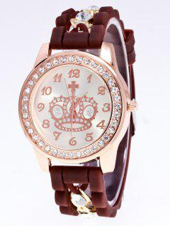 Silicone Rhinestone Crown Number Watch - Brown