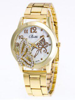 Rhinestone Butterfly Number Watch - Golden