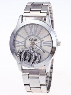 Rhinestone Crown Roman Numerals Watch - Silver