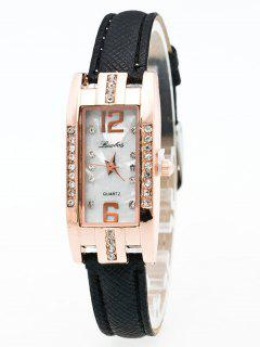 Faux Leather Rhinestone Rectangle Watch - Black