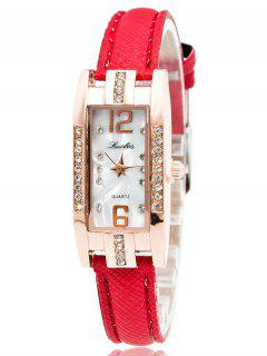 Faux Cuir Strass Rectangle Montre - Rouge