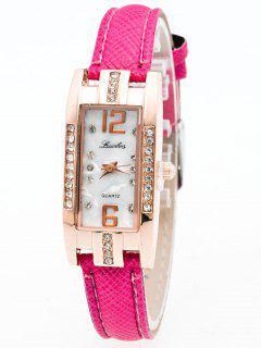 Reloj Rectangular Cuarzo Diamante Artificial Cuero Imitacion  - Cientos De Fructosa