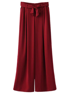 Belted Culotte Pants - Burgundy L