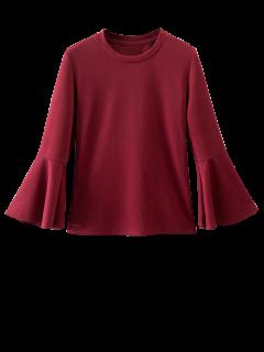 Ruffled Sleeve Blouse - Burgundy S