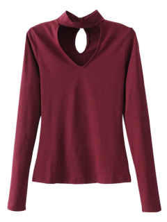 Long Sleeve Choker Layering Tee - Burgundy S