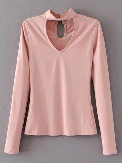 Long Sleeve Choker Layering Tee - Pink L