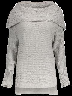 Off The Shoulder Side Slit High-Low Sweater - Gris