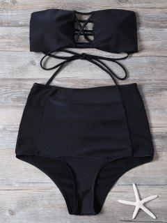 High Waisted Cut Out Swimsuit - Black Xl