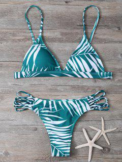 Tropical Imprimer Cutout Bikini - Vert S