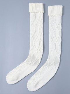 Crantées Skinny Knitting Bas - Blanc