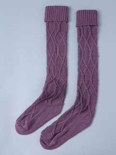 Notched Skinny Knitting Stockings - Purple