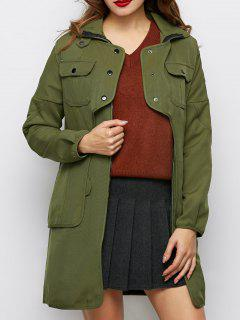 Storm Flap Tie Waist Trench Coat - Army Green S
