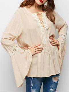 Lace Up Bell Sleeve Trapeze Top - Off-white 2xl