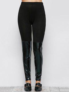 Tight Fit PU Leather Panel Leggings - Black S