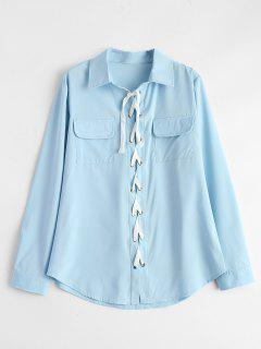 Lace-Up Shirt - Light Blue M