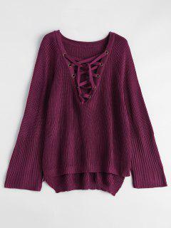 High Low Lace-Up V Neck Sweater - Burgundy L