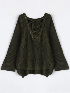 High Low Lace-Up V Neck Sweater - Army Green S